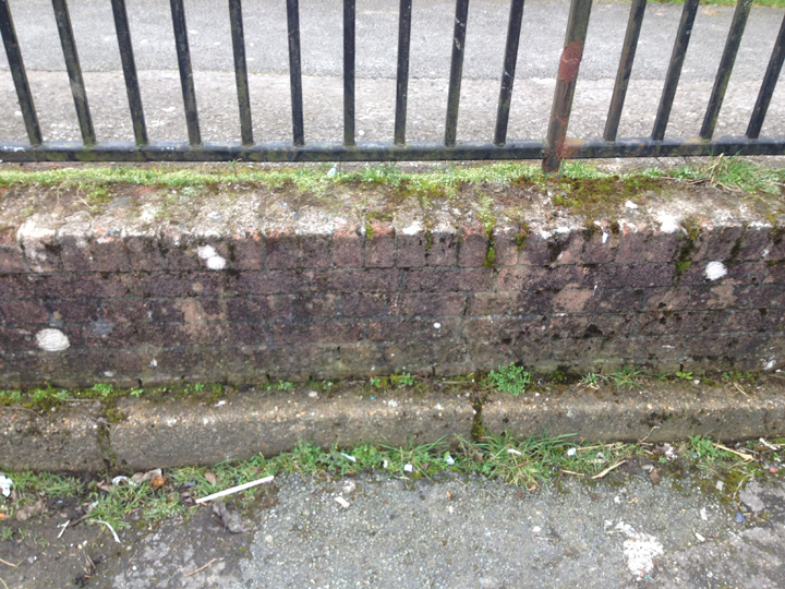 Existing Waenheulog 'gateway' wall - middle section.   Wal 'borth' bresennol Waunheulog – y rhan ganol.