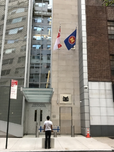Jee in front of the Singapore Consulate in New York, Oct 9, 2018