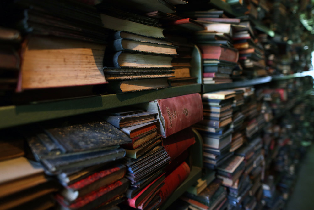 Current storage of books rescued from the National and University Library, Sarajevo.