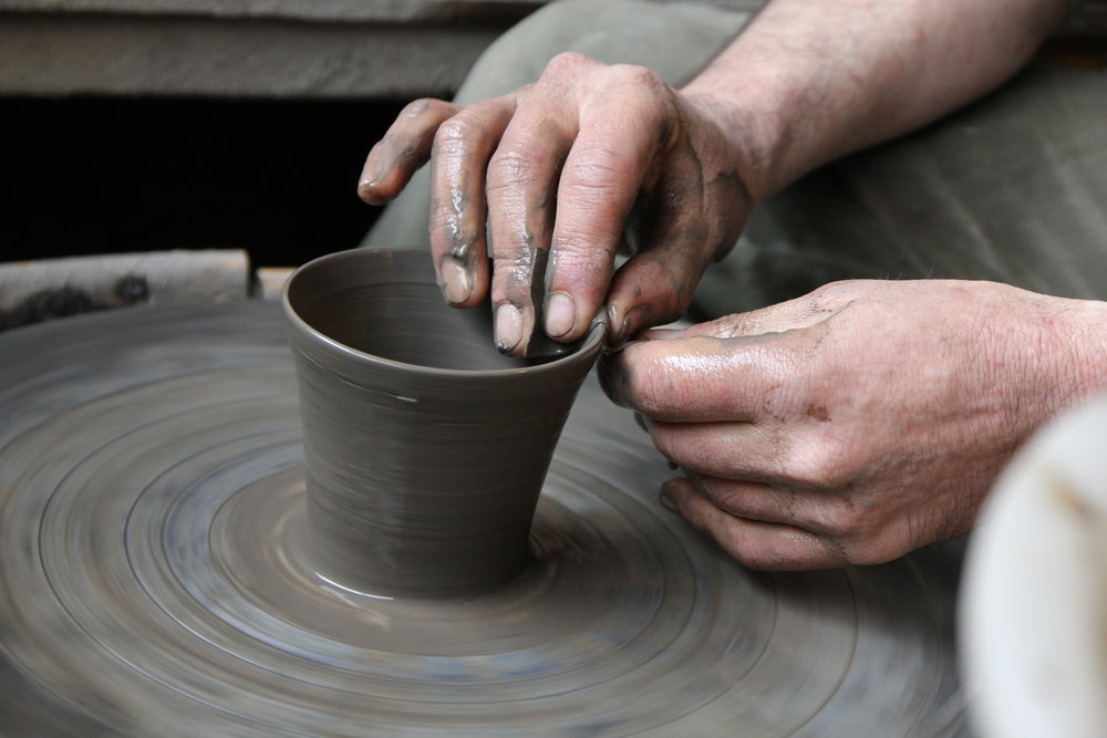 Over the span of several months, Kiko Ando, the artisan brings the clay into shapes by hand on the potters wheel. Every single cup is crafted this way.