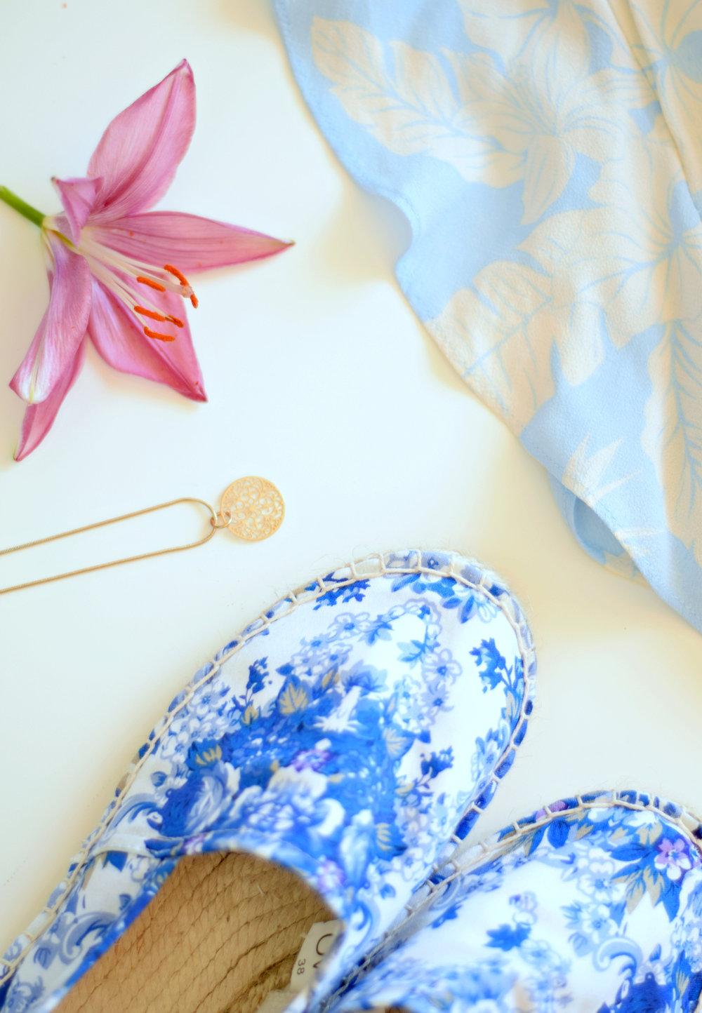 H&M romper // gold Accessorize necklace // Blue OVS espadrilles