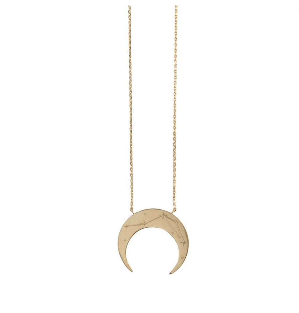 Crescent Libra Zodiac Necklace - Wanderlust + co