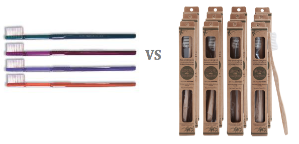 The Waste Problem : Plastic Toothbrush   Why :  Non-recyclable, wasteful   The Alternative : Bamboo compostable and sustainable toothbrushes    Where to buy :  Here