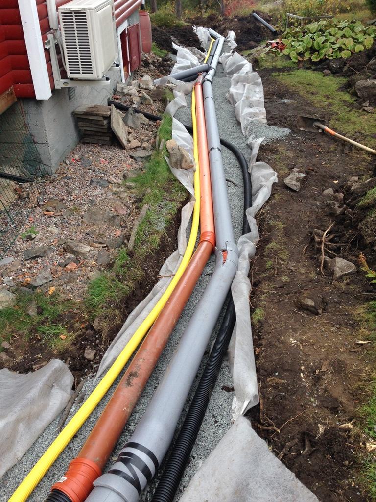 Ny vattenledning 32mm – Uponor Supraflex (Svart slang)
