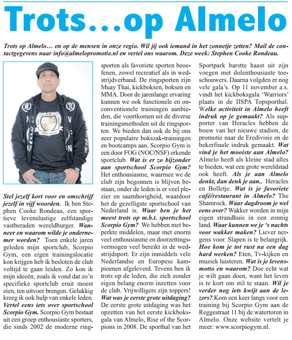 Trainer Stephen Cooke beantwoordde enkele vragen in Almelo's Weekblad