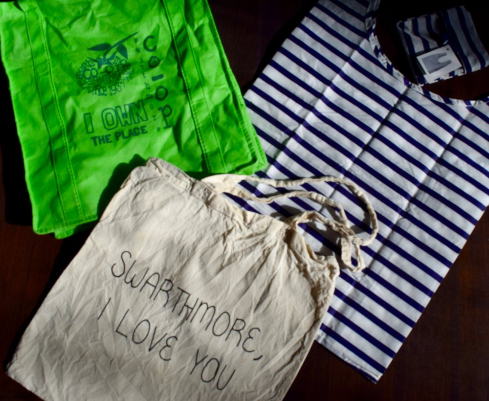 Some reusable bag options available at local merchants; Pictured at left: Swarthmore Co-op bag, middle: Compendium tote, right: H.O.M. Baggu tote