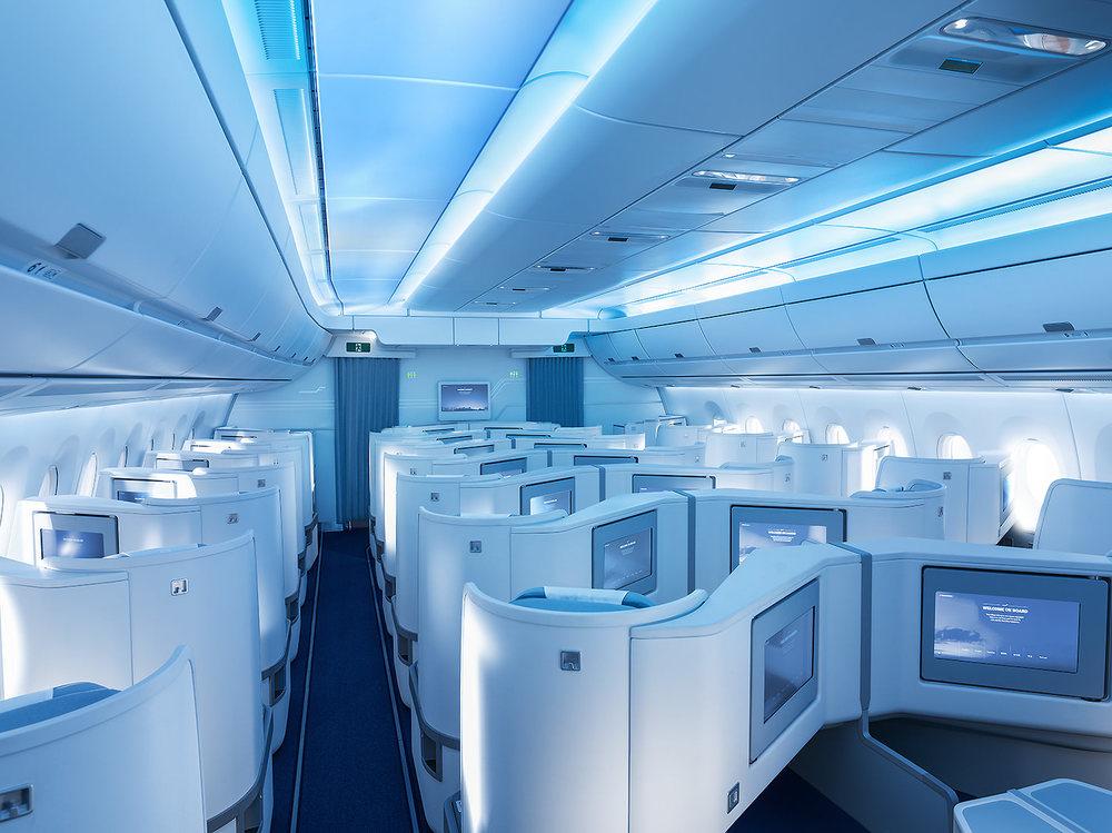 Finnair A350 business class cabin, boarding.jpg