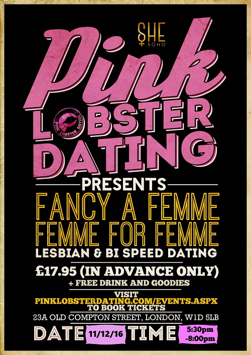 London's Christmas Fancy a Femme for lesbians, bisexuals and women who like women in SHE Soho, London