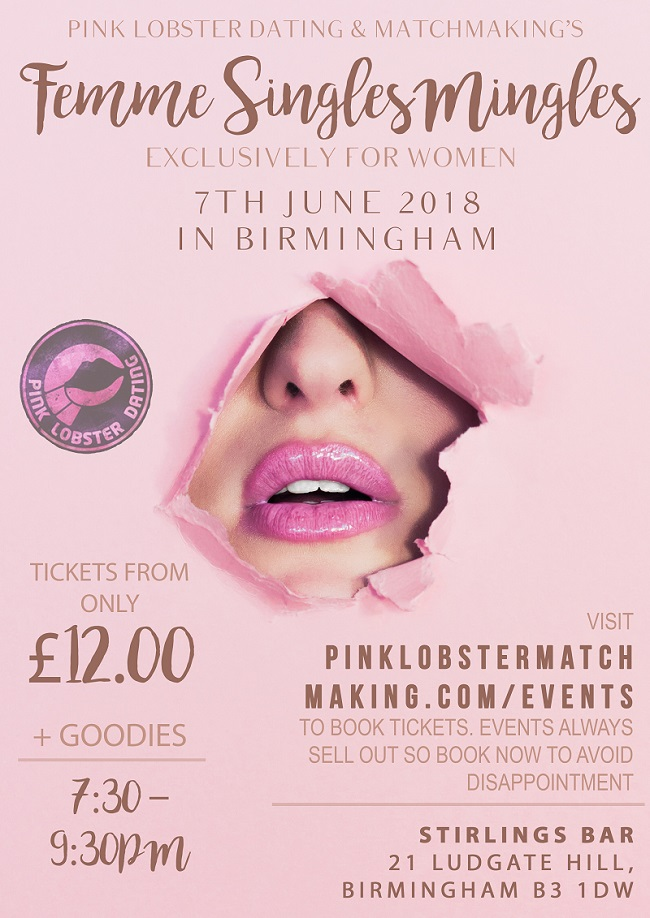 birmingham, femme, mix and mingles, lesbian, west midlands, The Vaults, Pink Lobster Dating, Pink Lobster Matchmaking, Meetup