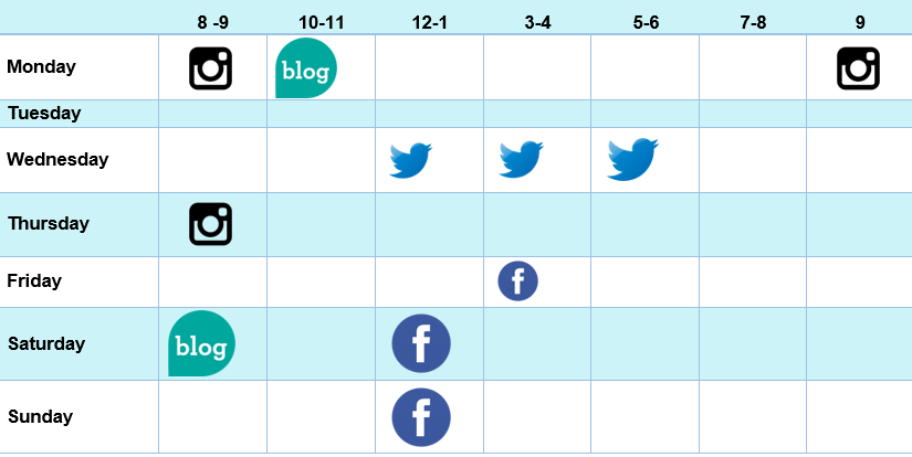 Weekly calendar for sharing content online