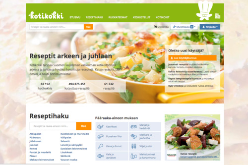 Kotikokki.net The most popular food community in Finland. Its members create recipes, recommend and comment on recipes submitted by others, and look for ideas. It is the largest recipe bank in Finland with over 61,000 recipes.