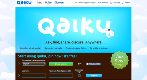 Qaiku.com A discontinued microblogging platform developed by ROHEA. The service was also planned to be applicable for internal corporate communications. We did a few things right, but unfortunately more things wrong. Lessons learned can be read in Arctic Startup.