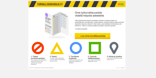 Turvallisuusohje.fi   An online application for the Centre of Occupational Safety that allows anyone to create a quick and easy accordion shaped safety information print. Not so challenging tech anymore, but was an interesting case in 2011. And still runs strong.