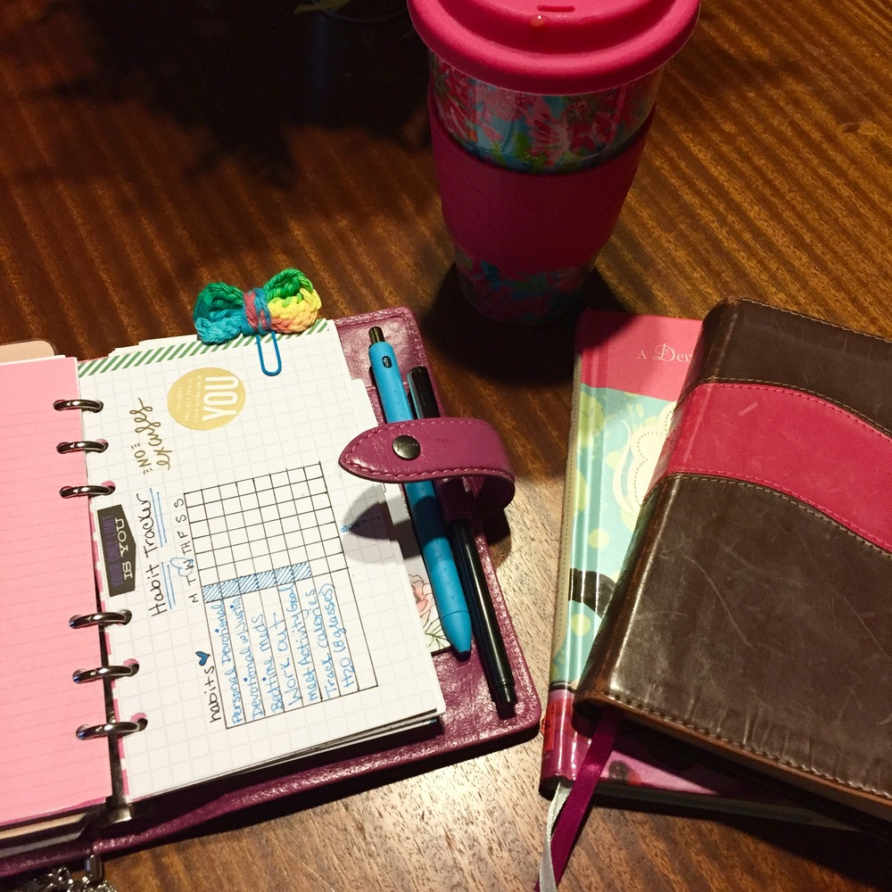 I typically start my morning off this way. Coffee, planning , and Jesus!