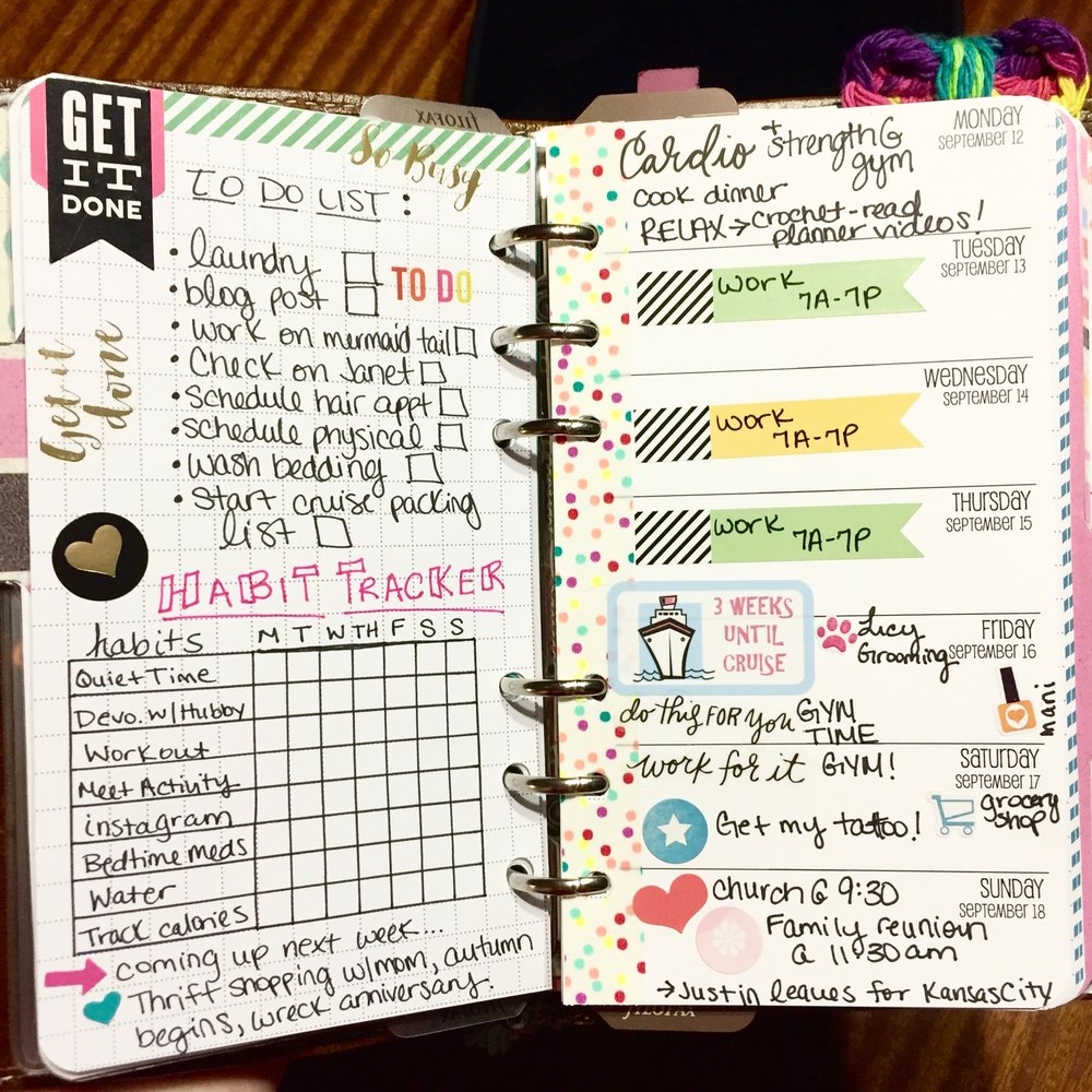 My current setup involves a week on one page inserts and a gridded page for lists and habit tracking.