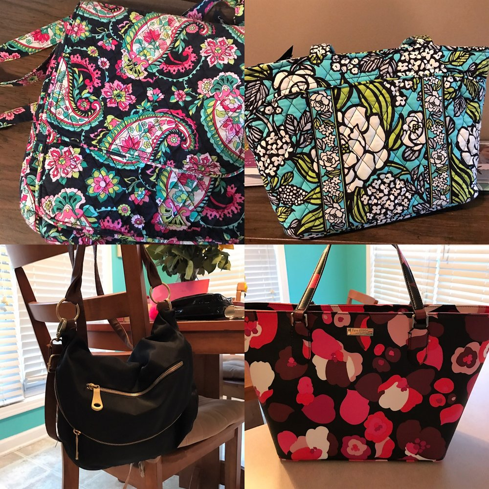 Top left: Vera Bradley cross body style bag. Top right: Vera Bradley shoulder bag. Bottom left: Black slouchy, cross body or shoulder strap bag. Bottom right: Kate Spade shoulder bag.