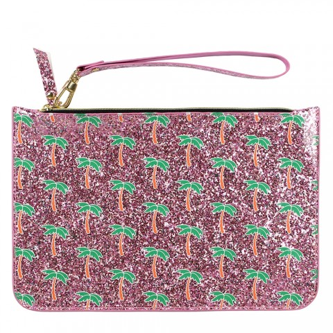 Pink Glitter Palm Tree Pouch