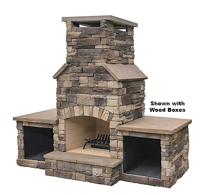 "The DFP1 - A compact wood burning outdoor fireplace with a 30"" fire box that can fit into almost any design. Solidly-built using a FireRock™masonry core, high temperature fire brick lining and cultured stone veneer. Gas log starters or gas log sets can be added as an upgrade"
