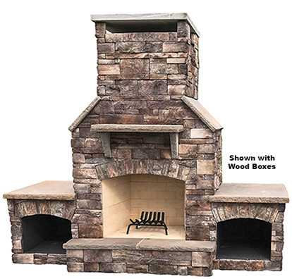 "The DFP3 - Our largest wood burning outdoor fireplace with a 36"" fire box and flowing proportional lines. Solidly-built using a FireRock™ masonry core, high temperature fire brick lining and cultured stone veneer. Gas log starters or gas log sets can be added as an upgrade"