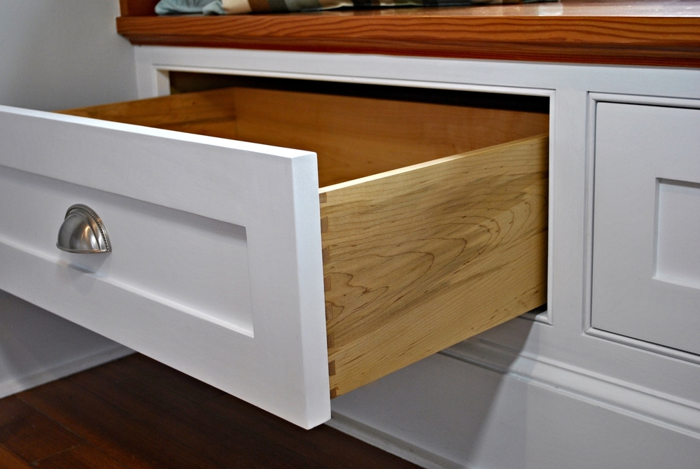 window seat with drawers bay window this builtin window seat offers large drawers for storing linens blankets clothing etc and the softclose mechanisms ensure smooth quiet window seat keith johnson custom woodworking