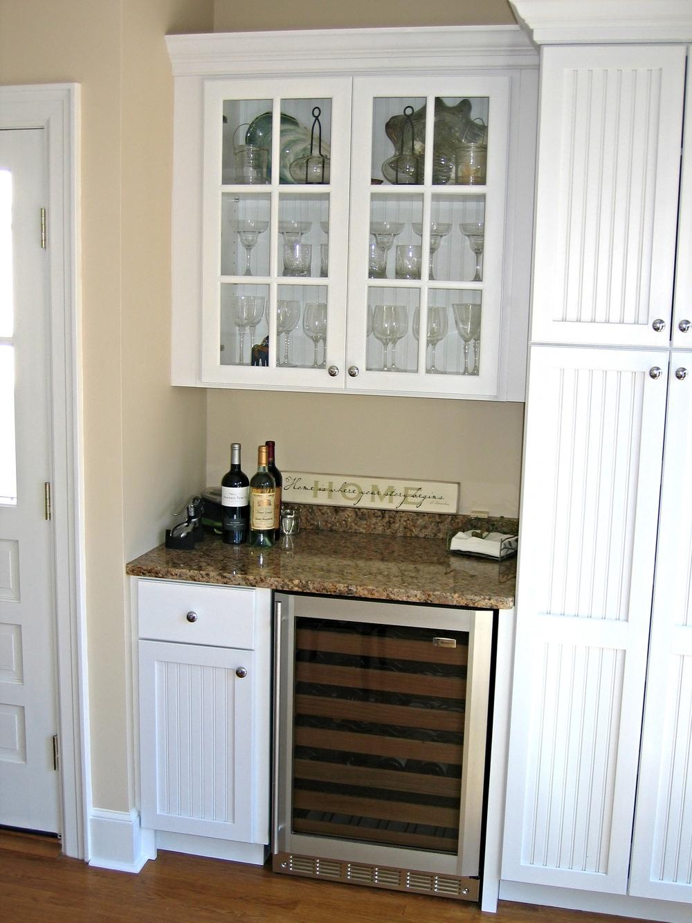 Glass Doors And Wine Fridge Keith Johnson Custom Woodworking