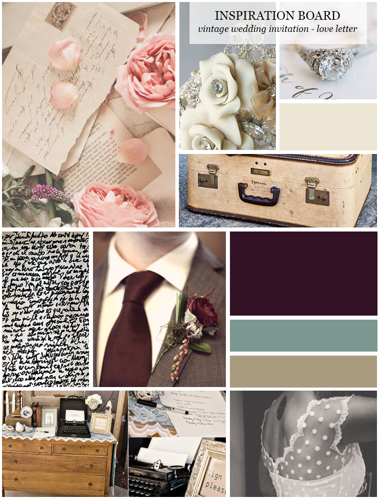 Vintage wedding invitation inspiration board
