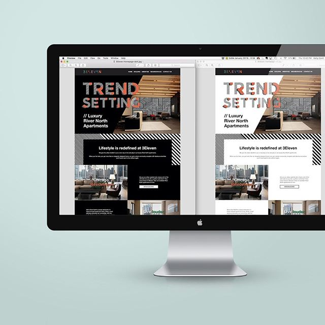 CURRENTLY WORKING ON ... a new website for a Chicago luxury apartment!⠀ ⠀⠀ Project background:⠀⠀ Client is looking for a refresh of their website. Their apartments are very modern and target a specific modern and minimal clientele. Their current website is dark in color so I wanted to give them options with their new site.⠀ ⠀ I designed a black background version and a white background version. I'm sending proofs today but was wondering which do you prefer???⠀ ⠀ 1. Back background⠀ 2. White background ⠀⠀ ⠀ Let me know in the comments below!