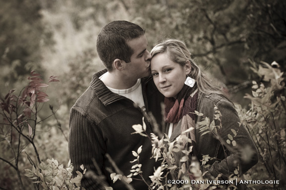 Ashley and Tyler celebrate their engagement by taking in the autumn air Oct. 10 at the Cannon River Winery vineyard near Sogn, Minn.