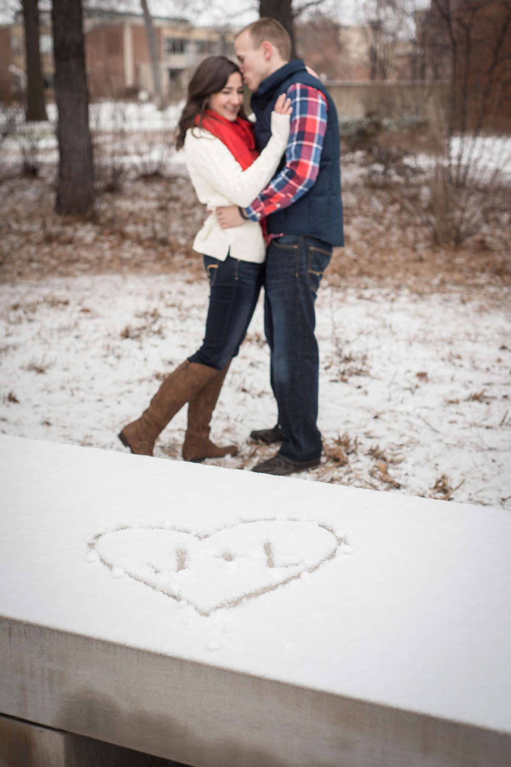 St. Paul engagement photos heart and snuggling photo