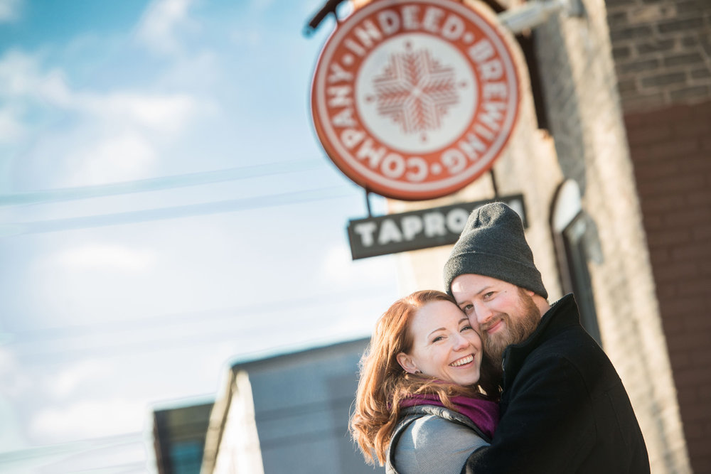 Nicole and Patrick frequent Indeed Brewing Company Taproom in Minneapolis, so it was a natural choice for their engagement photo session