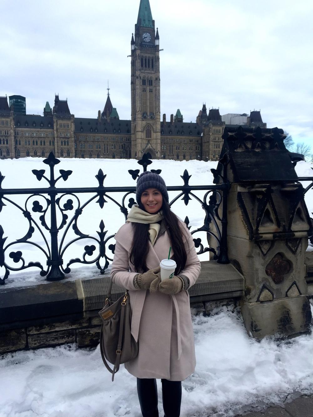 Kirsten Avison doing her best to keep warm in snowy Ottawa.
