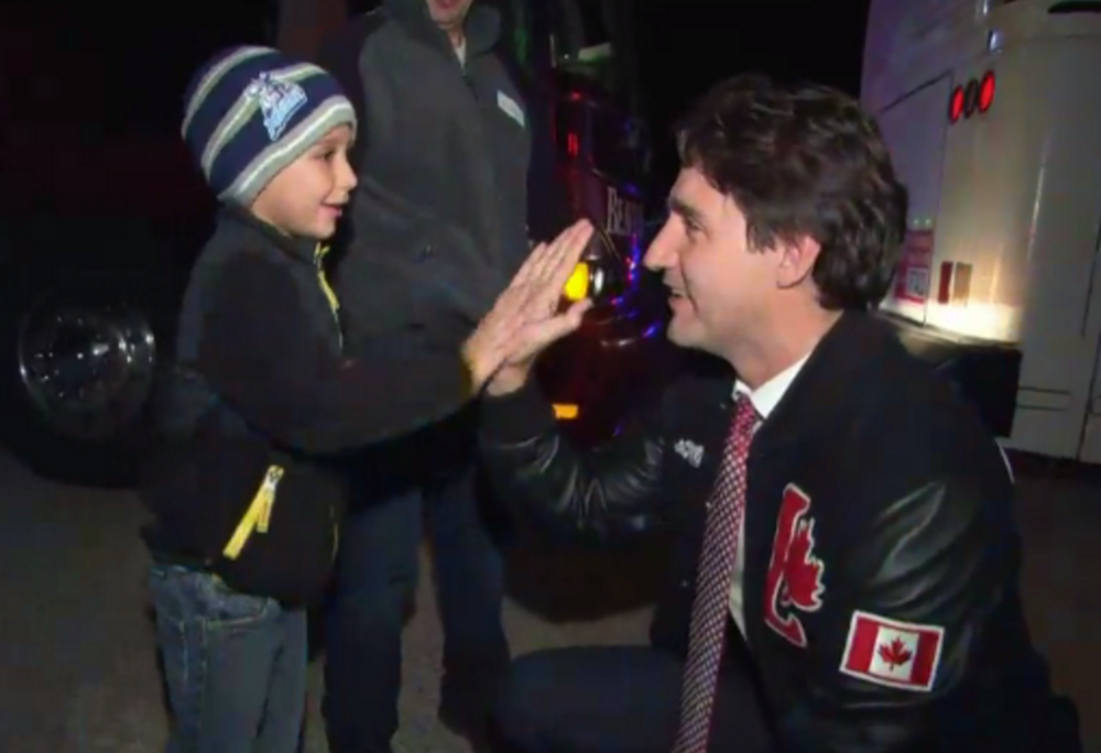 Trudeau says hello to Gregory Bobby