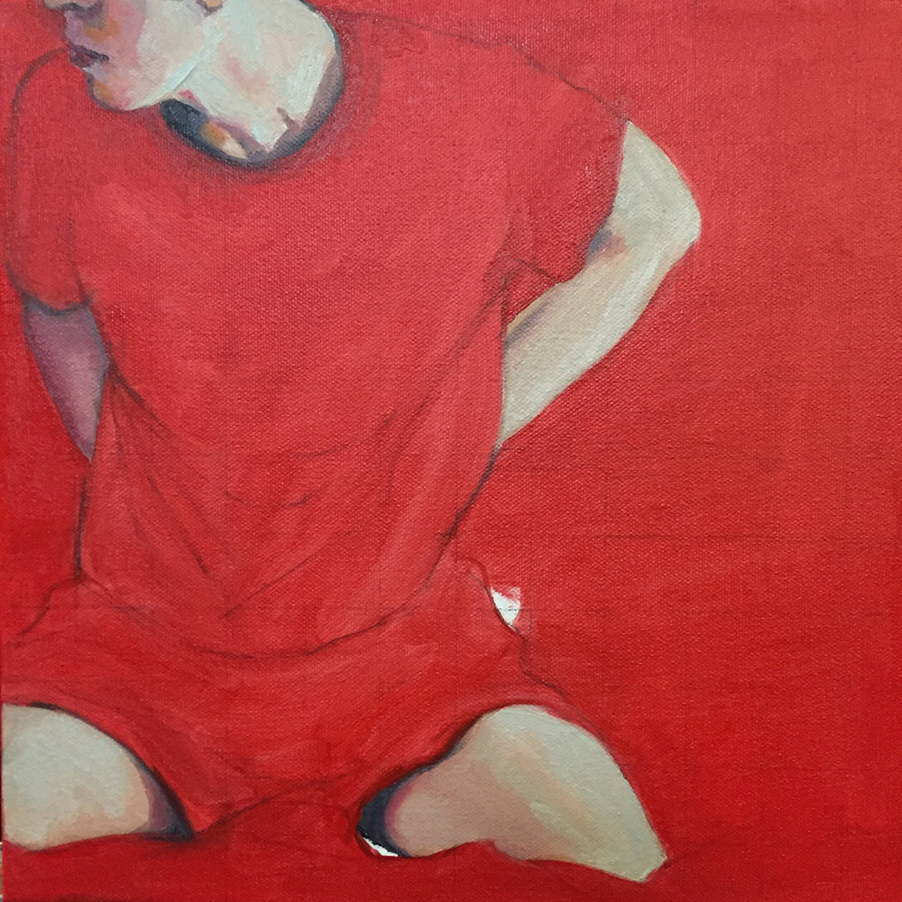 I think this one might work out as well. All the red is underpainting for white. I like the red to show through a bit.