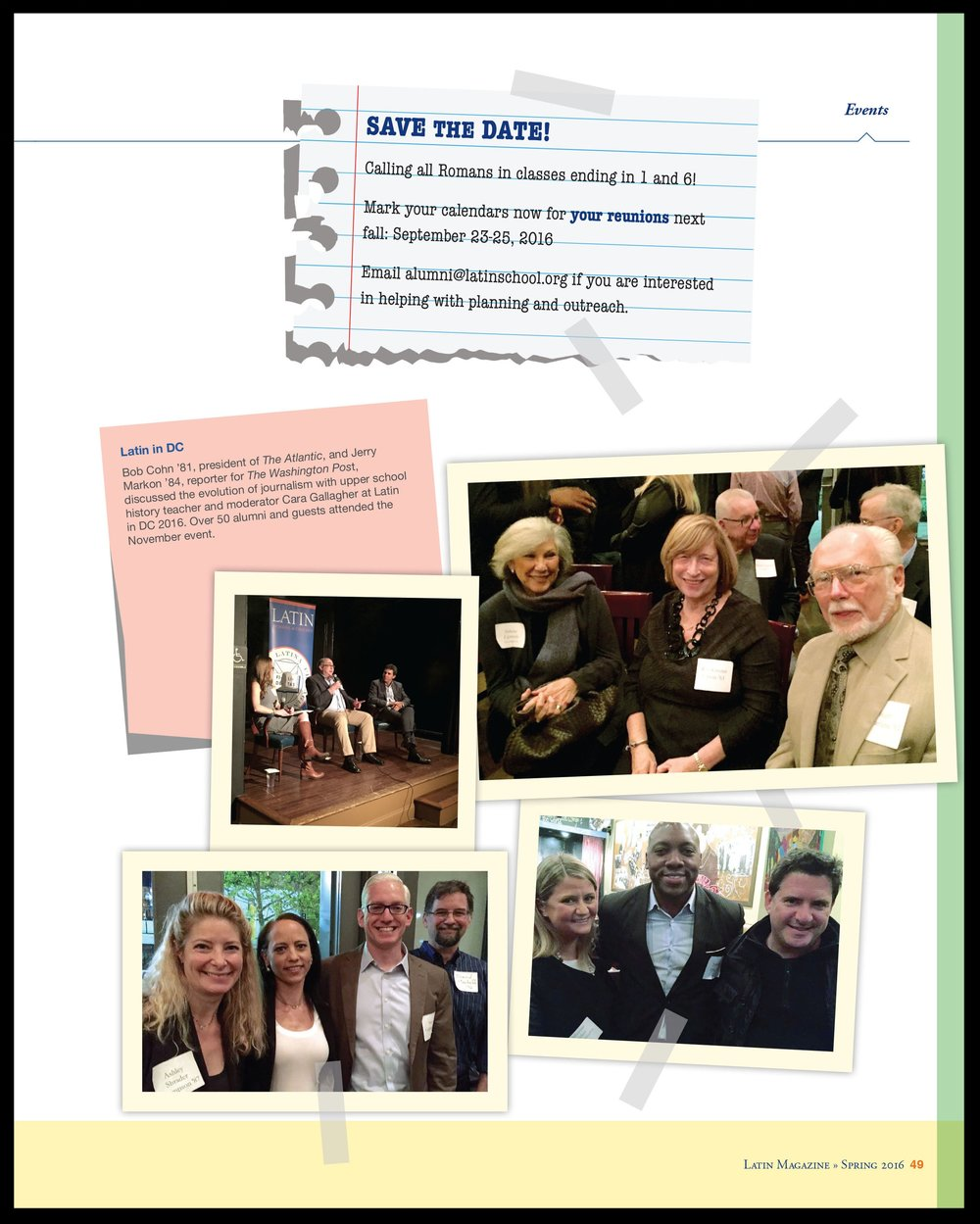 Alumni businesses and accomplishments are featured and alumni events, past and future, shown