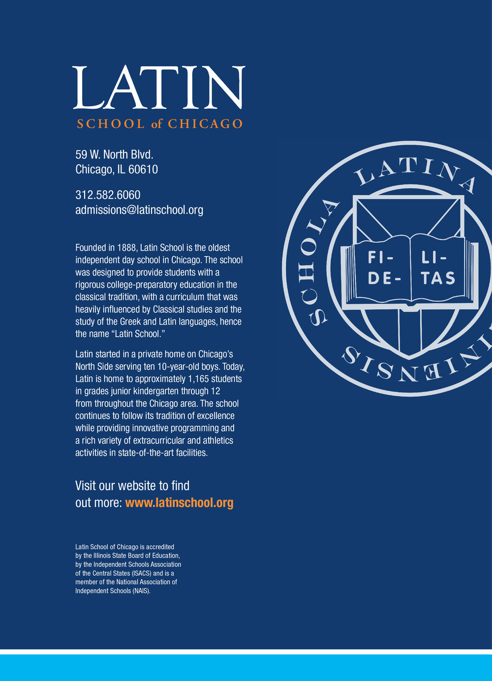 The back of the brochure features Latin's seal