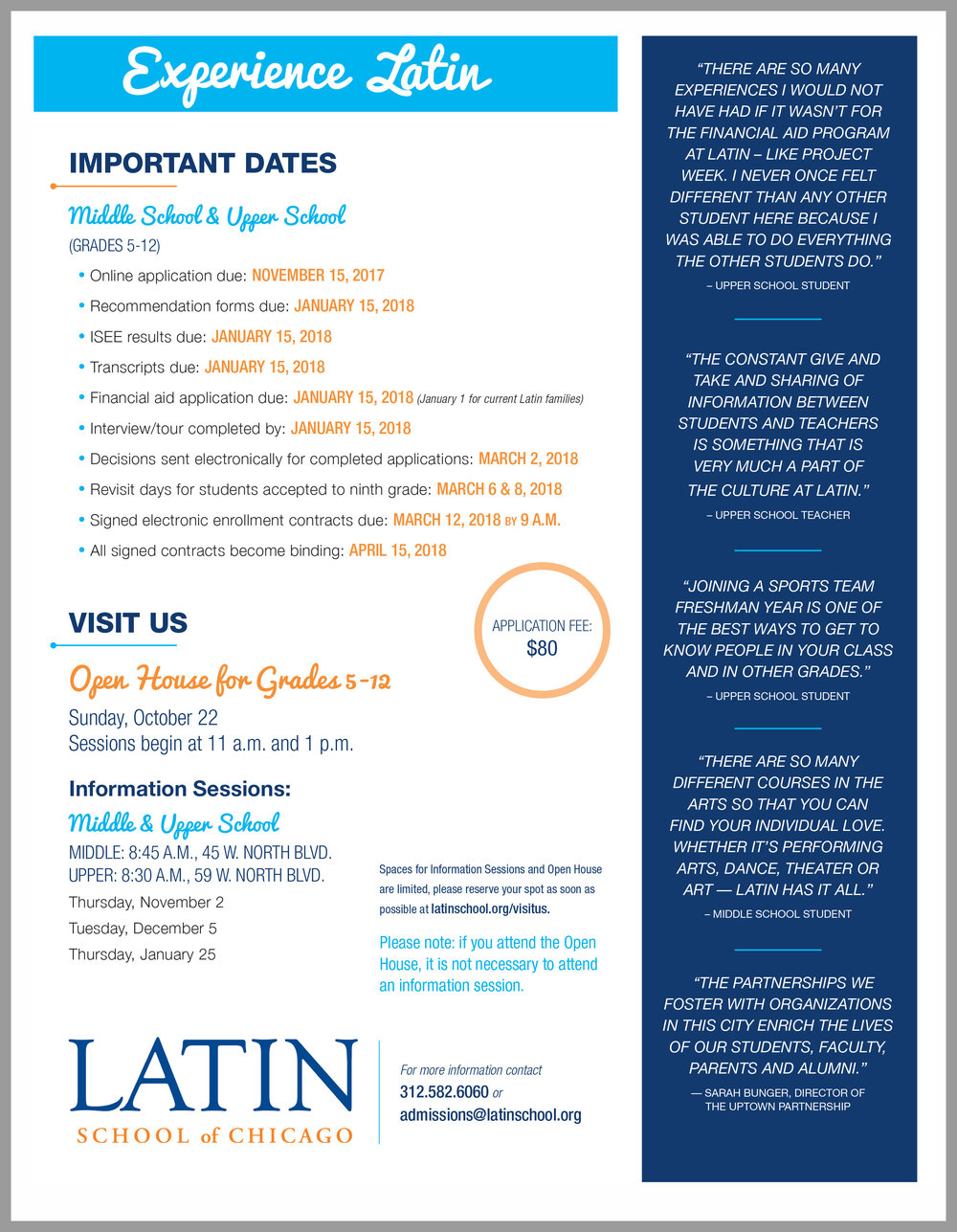 The one-sheet has stats about Latin on one side and information about visiting the school and applying on the other.