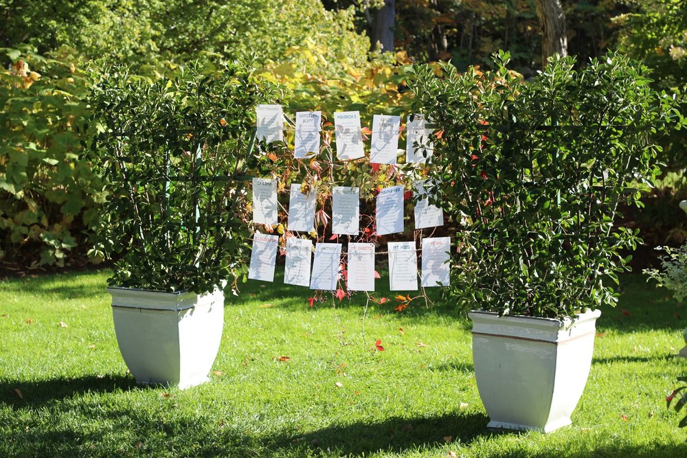 Seating chart with rental topiaries at Blithewold