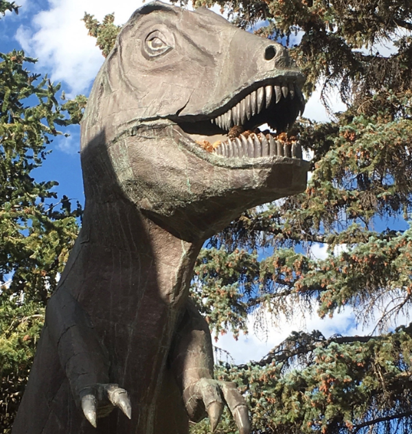 T. rex statue on the University of Wyoming campus