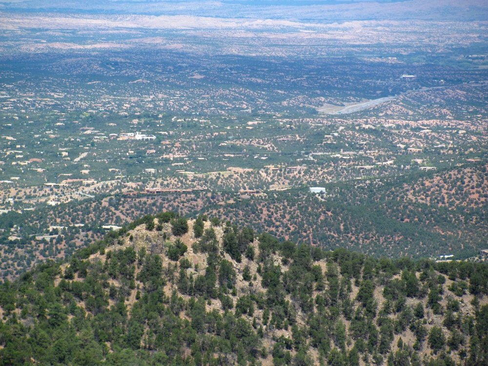 The view from Atalaya Mountain over Santa Fe, New Mexico.