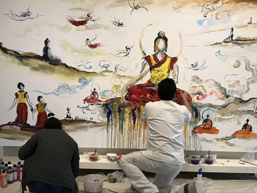 Tibetan artist Tashi Norbu paints at the University of Wyoming Art Museum