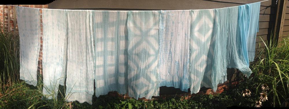 dyed with fresh leaf home grown indigo