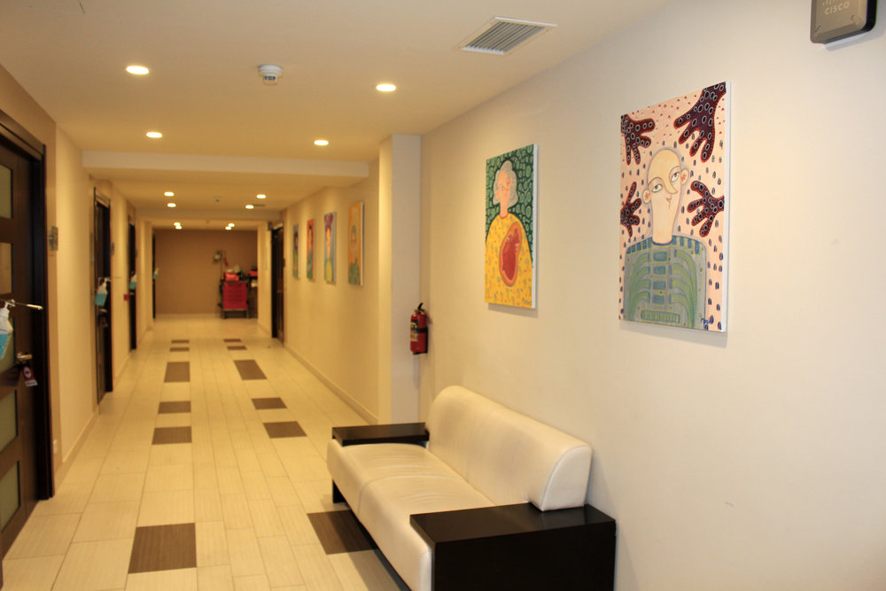 Hallway with paintings