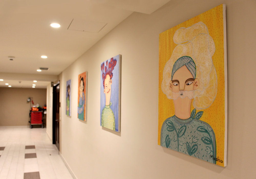 Cool hallway with paintings