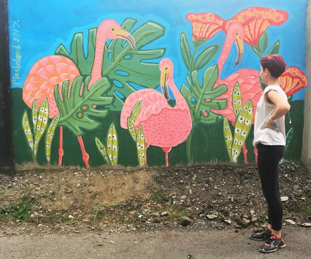 Flamingo Jungle Mural Painting