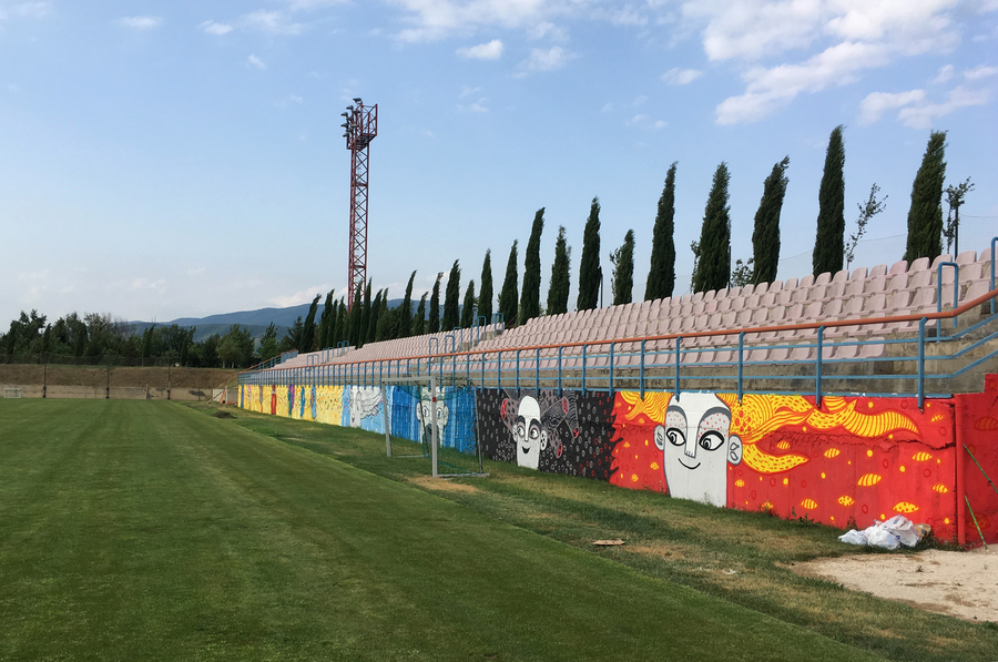 Football stadium mural