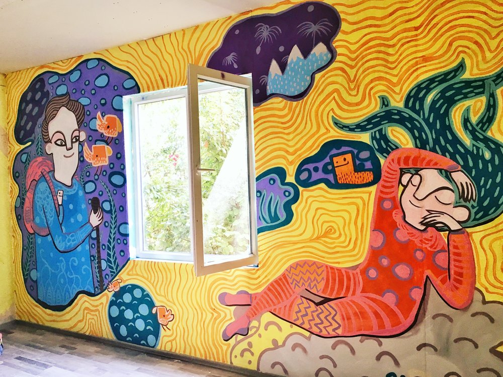 Interior mural inspired by Ariadna's Dream