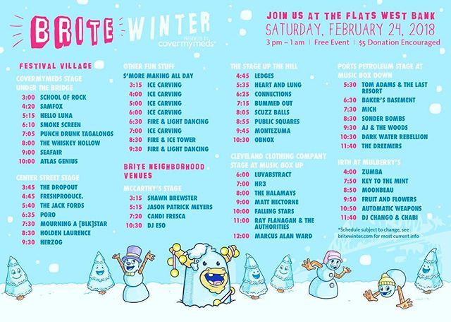 Brite winter fest is tomorrow on and around the Cleveland West Bank of the flats, though we will not be playing this year, many of our good friends are! We'll definitely be checking out the festivities and gettin' down