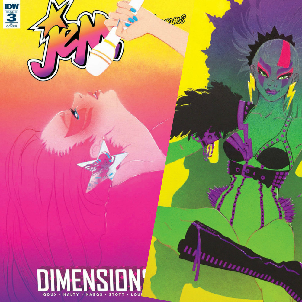 FEB 21 — Jem Comics - Late last year IDW Publishing commissioned me to create two covers for their Jem & the Holograms comic series. The opportunity to create official art for one of my childhood favorites is truly an outrageous dream come true. Dimensions #3 featuring Jem is in stores today and Pizzazz's issue will be released mid March. Both are retailer incentive variants so ask your local comic shop to set one aside for you.