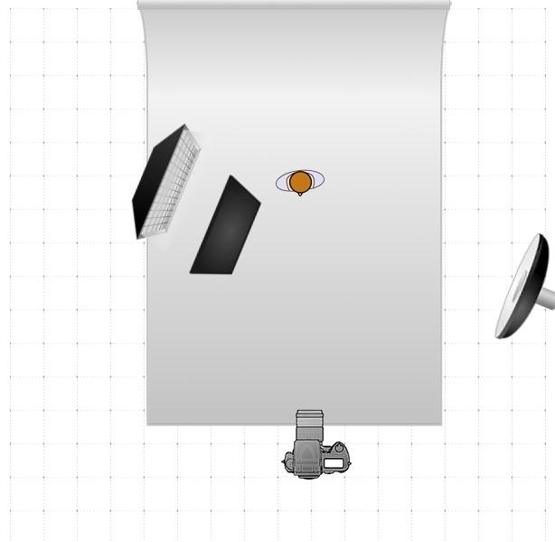La source de lumière principale à droite se trouve à environ 2.50m de hauteur inclinée à environ 45°. La source de lumière de gauche est à hauteur du visage de la modèle.
