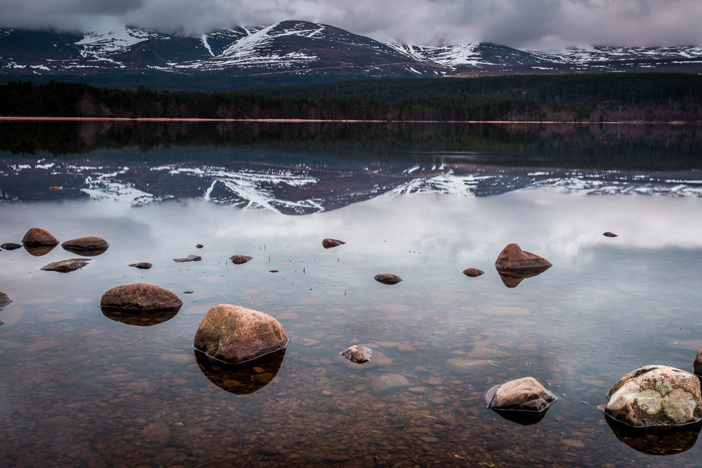 Cairngorm reflections from the banks of Loch Morlich